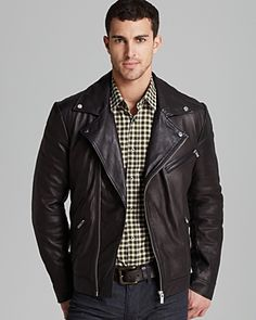 $845, Hugo Larock Leather Biker Jacket by Hugo Boss. Sold by Bloomingdale's. Click for more info: http://lookastic.com/men/shop_items/59953/redirect
