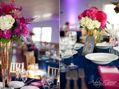 magenta and blue wedding, gold, navy blue tablecloth, magenta napkins, beach, place setting, tall floral centerpieces, table numbers, Narragansett RI Wedding  #aubreygreenephoto