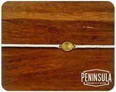minimal white waxed nylon bracelet with gold starburst
