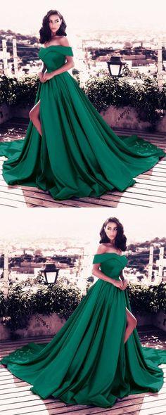 dark green prom dress,satin formal dress,emerald green prom dress,slit dress,elegant prom dresses 2018,off the shoulder evening gowns,dark green evening dress #longpromdresses