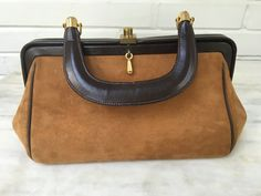 vintage Meyers brown suede leather handbag, top handle women's purse, made in USA by MotherMuse on Etsy