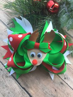 A personal favorite from my Etsy shop https://www.etsy.com/listing/478068906/reindeer-hair-bow-christmas-hair-bow