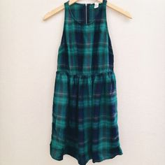 "Plaid Dress Blue and green plaid dress. Super soft. Zipper on the upper back. Washed once, never worn. 32"" long. NO TRADES OR PAYPAL. Dresses Mini"