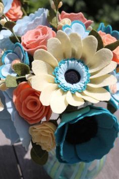 Felt Flower Wedding Bouquet. Custom Made For by TheFeltFlorist