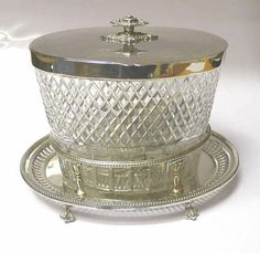 Victorian Silver Plate and Crystal Biscuit Jar 1890 Stock ID 6842 Barrels, Tins, Silver Plate, Biscuits, Container, Victorian, Jar, Crystals, Glass