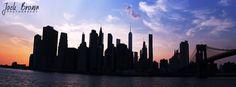 New York skyline at dusk.