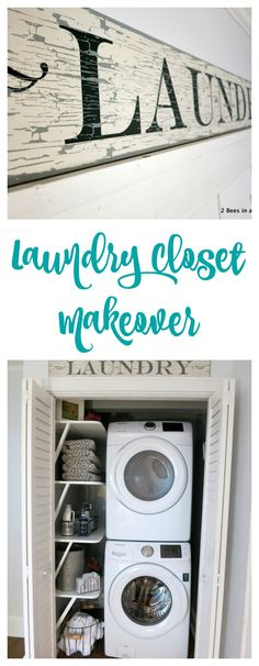 Laundry Closet Makeover Reveal - Small laudry space solution. Convert a closet to a laundry room space.2 Bees in a Pod