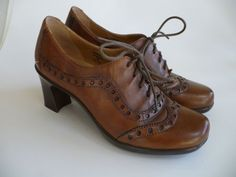 EARTH-Womens-Shoes-Lace-up-Oxford-Wingtip-Heels-Brown-Leather-US-Size-7-M