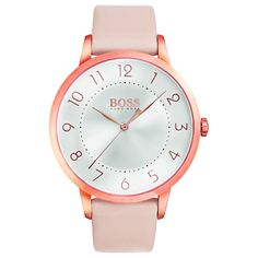 BOSS Ladies Eclipse Pink Leather Strap Watch 1502407 from House of Watches. Shop our BOSS collection today and get FREE next day delivery. Eclipse Watch, Hugo Boss Watches, Women's Watches, Jewelry Watches, Mode Blog, Hand Watch, Ootd, Pink Leather, Boss Lady