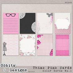 Think Pink Journal Cards by Bóbita Designs at Mscraps