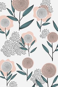 Floral pattern, warm rosy hues and deep teal. Illustrated botanical line art for packaging and branding. Flower Pattern Design, Daisy Pattern, Pattern Art, Flower Patterns, Prints And Patterns, Pattern Painting, Pattern Ideas, Surface Pattern Design, Textile Patterns