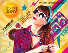 """Check out new work """"80's Disco PSD Flyer Template"""" #event #party #disco"""