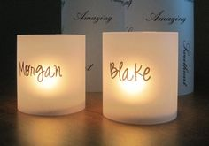 wedding table name place cards and favors. Write names on them or maybe clear stickers Wedding Table Names, Wedding Cards, Diy Wedding, Wedding Favors, Wedding Reception, Wedding Ideas, Dream Wedding, Name Place Cards, Name Cards