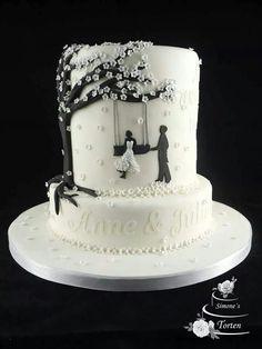 Bride on a swing with groom 2 tier wedding cake - Hochzeit Kuchen - Cake Design 2 Tier Wedding Cakes, Wedding Cakes With Cupcakes, Elegant Wedding Cakes, Beautiful Wedding Cakes, Gorgeous Cakes, Wedding Cake Designs, Wedding Cake Toppers, Rustic Wedding, Wedding Unique