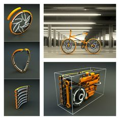 Compactable Urban Bicycle - This bicycle can be disassembled completely. Even the wheels fold up. The secret is in the wheels. Each wheel consists of 6 modules that can be separated and folded up to save up space.
