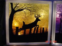 Deer Leaping on Glass Block.I love the look of glass blocks! Painted Glass Blocks, Decorative Glass Blocks, Lighted Glass Blocks, Glass Cube, Glass Boxes, Glass Art, Block Painting, Tole Painting, Painting Patterns