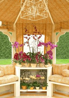 Colorful gazebo with a profusion of orchids, a whimsical branch hanging light and Alan Campbell's Zig Zag in Inca Gold on tint fabric