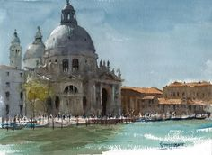 """https://www.facebook.com/MiaFeigelson  """"Basilica di Santa Maria della Salute, Venice""""By Keith Hornblower, from Hitchin, England (b. 1952) - watercolor on Arches paper; 23 x 31 cm - http://keithhornblower.blogspot.com.ar/ http://keithhornblower.wordpress.com/"""