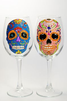 Cinco De Mayo, Mexican Fiesta, Sugar Skull Wine Glass, Sugar Skull ...