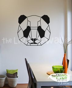 Geometric Panda Bear Wall Decal Geometric Panda Head by LivingWall