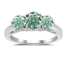 RINGJEWEL 2.31 ct VS1 Round Real Moissanite Solitaire Engagement /& Wedding Ring Blue Green Size 7.5