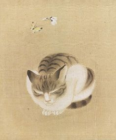 Sleeping Cat and Butterflies | ink and color painting, ca.1800-1850 | Japanese, unknown artist -------------------------------------------   Museum of Fine Arts, Boston