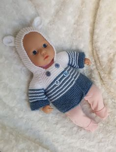 Baby Knitting Patterns Jacket Free knitting pattern for Annabell garter stitch jacket Knitted Doll Patterns, Knitted Dolls, Baby Knitting Patterns, Crochet Dolls, Free Knitting, Crochet Baby, Crochet Birds, Crochet Food, Knitted Baby