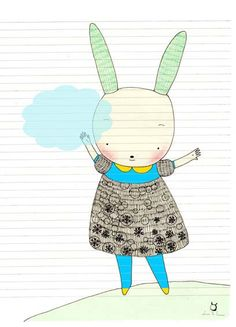 *Laura Di Francesco*- would make a good bunny drawing and chalk lesson. Cloud Nursery Decor, Clouds Nursery, Children's Book Illustration, Illustrations, Bunny Drawing, Funny Rabbit, Some Bunny Loves You, Cute Kawaii Drawings, Childrens Wall Art