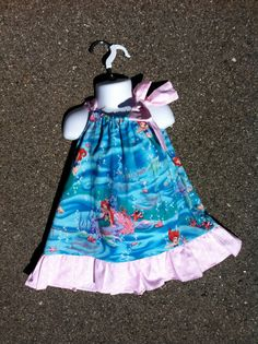 Princess Ariel Inspired The Little Mermaid ruffled dress with Bow
