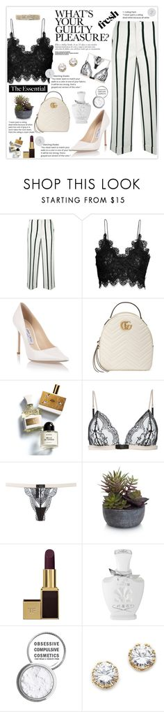 """""""Guilty Pleasures"""" by essentiallyessence on Polyvore featuring Twin-Set, H&M, Jimmy Choo, Gucci, Memo Paris, Maison Close, Elements, Tom Ford, Creed and Obsessive Compulsive Cosmetics"""