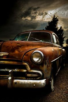 Rusty Car. Nice patina and great contrast. We love old cars. - Very nice picture indeed. The colours just look amazing! #oldcar #webuyanycar http://www.wewantanycar.com/webuyanycar.aspx