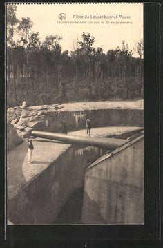 old postcard: AK Moere, Der Lange Max, Neugierige am Küstengeschütz Leugenboom
