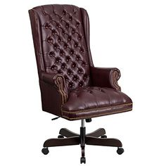 HighBack Traditional Tufted Burgundy Leather Executive Swivel Office Chair ** Learn more by visiting the image link.Note:It is affiliate link to Amazon.
