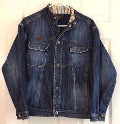 Timberland Denim Jacket XL Cotton Intentionally Distressed Seams Snap Front   #Timberland #DenimJeanJacket