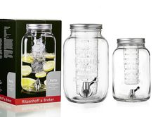 Dispenser pentru bauturi Party, 4  #homedecor #cocktailbar #drinks Party, Mason Jars, Drinks, Drinking, Beverages, Parties, Mason Jar, Drink, Beverage