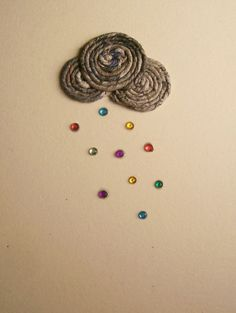 Rain(bow) fizz by Zygotegifts: newspaper yarn and gems