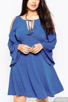 Plus Size Cold Shoulder Babydoll Dress With Tassles - US$15.95 -YOINS
