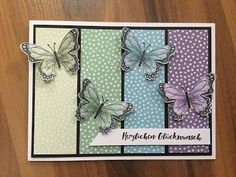 Craft madness: butterfly card in cool colors cards Homemade Greeting Cards, Greeting Cards Handmade, Homemade Cards, Butterfly Cards Handmade, Handmade Birthday Cards, Handmade Card Designs, Butterfly Crafts, Stamping Up Cards, Marianne Design