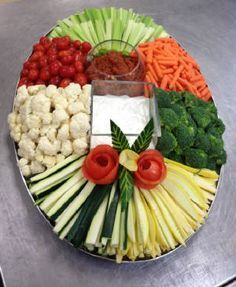 "Veggie tray idea. Would put dips in bell pepper halves and red cabbage ""bowl"" (ideas ""garnished"" ;)  from other pins)."