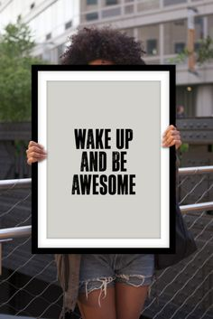 "Letterpress Style Inspirational Print ""Wake Up and Be Awesome"" Typography Art Poster Black and White Home Decor Minimalist Type Wall Art"