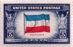 US postage stamp, 5 cents.  Yugoslavia.  Issued 1943.  Scott catalog 917.