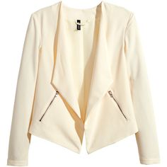 H&M Crêpe jacket (115 ARS) ❤ liked on Polyvore featuring outerwear, jackets, blazers, h&m, natural white, lined jacket, white zip jacket, zip jacket, zipper jacket and white jacket