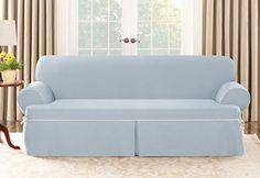 Sure Fit Cotton Canvas One Piece Sofa Slipcover Sky Blue for T seat cushion #SureFit #CottonCanvas