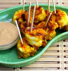 Recipe for roasted shrimp appetizer with spicy peanut sauce - low carb and soooo good!!! (NOTE: Check the carb count on the red curry paste you use)