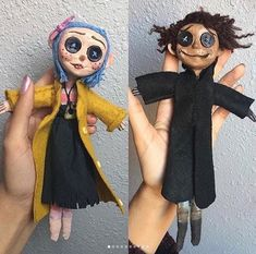 Coraline and Wybie dolls by via Coraline And Wybie, Coraline Doll, Coraline Jones, Coraline Costume, Doll Costume, Coraline Movie, Halloween Look, Halloween Costumes, Lol Doll