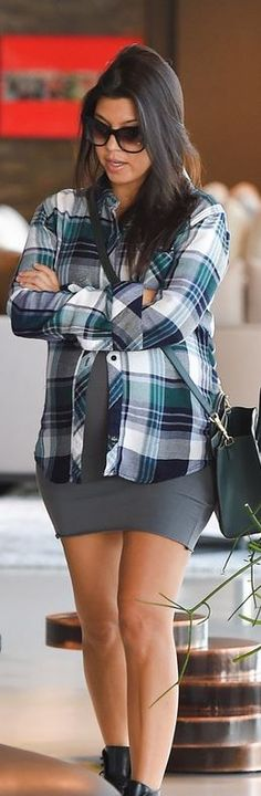 Who made  Kourtney Kardashian's green handbag and blue plaid shirt that she wore in Beverly Hills on September 26, 2014