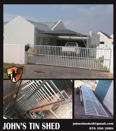 6.3m Galvanised sliding gate Tin Shed, Sliding Gate, How To Remove Rust, Plasma Cutting, Gates, Restoration, Steel, Outdoor Decor, Home Decor