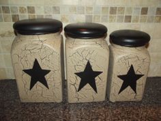 Primitive Crackle Set of 3 Ceramic Canisters ~ Black Stars ~ Country Decor