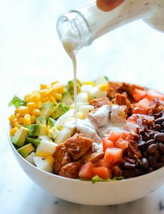 BBQ Chicken Cobb Salad | 13 High Protein Low Carb Snacks to Keep You Fit This New Year
