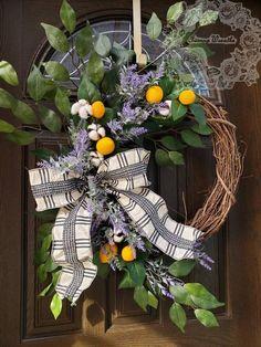 Lemon Wreaths for Front Door Farmhouse Wreath Lavender Wreath Summer Wreath Lemon Decor Spring Wreat Summer Door Wreaths, Christmas Door Wreaths, Wreaths For Front Door, Holiday Wreaths, Lemon Wreath, Lavender Wreath, Lighted Wreaths, Outdoor Wreaths, Xmas Decorations